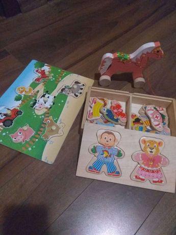 Zestaw drewnianych zabawek, stan bardzo dobry