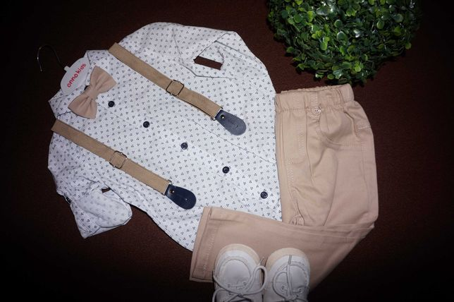 Garnitur 86/92 chrzest koszula / body mucha spodnie