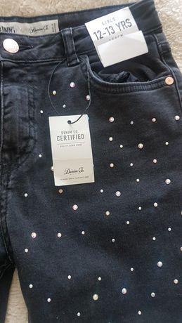 Spodnie jeansy czarne kryształki 158cm