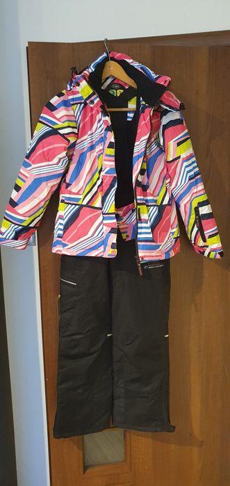 Spodnie narciarskie dziewczęce, chłopięce, czarne, szelki, odblaski Sosnowiec - image 1