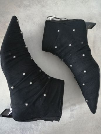 Buty Botki z perełkami ZARA 36