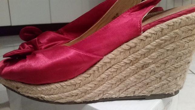 koturny, sandały, buty na lato, damskie koturny, fuksja, na lato