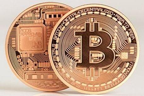 Сувенирная монета биткоин в медном цвете btc, bitcoin, биток, биткоін