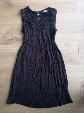 Sukienka ciążowa czarna koronkowa wizytowa elegancka h&m mama,R. S/36.
