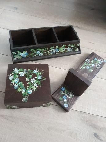Zestaw : skrzynka na zioła,skrzynka na drobiazgi,półka na kwiaty