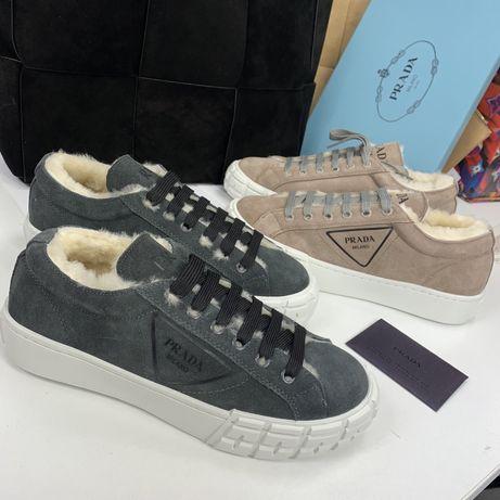 Зимние натуральные ботинки кроссовки prada прада