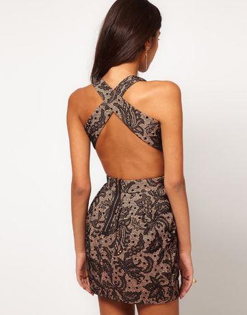 вечернее мини платье Asos с открытой спиной размер 6 XS 34