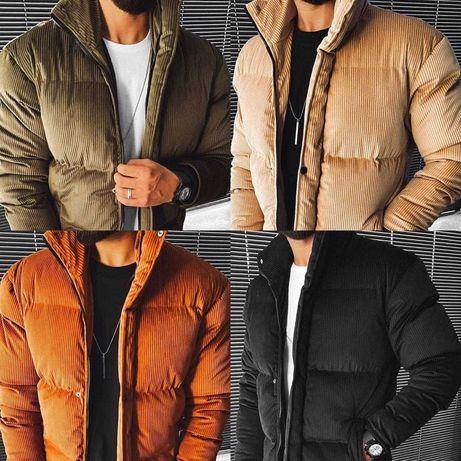 Пуховик куртка мужская стеганая базовая теплая велюр турция