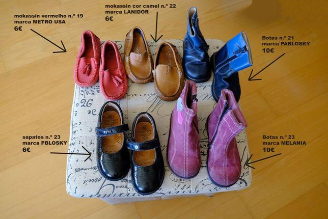 lote de calçado de menina, do n.º19 ao 23