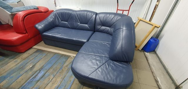 Narożnik skórzany rogówka sofa kanapa skóra funkcja spania jak nowy