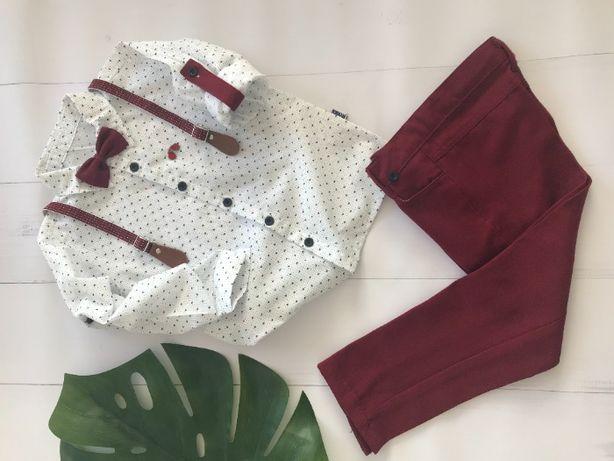 Elegancki komplet chłopięcy koszula spodnie szelki i mucha r 110 - 128