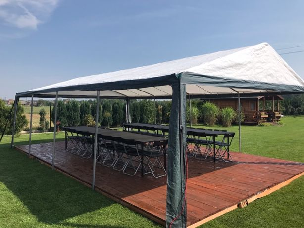 Wynajem namiotów imprezowych 8x5 m oraz sprzętu imprezowego.