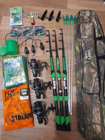 Рыболовный набор, спинниг с катушкой, набор рыбака, рыболовные снасти!