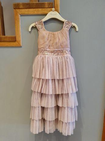 Elegancka sukienka z bolerkiem dla dziewczynki 110/116 Nowa