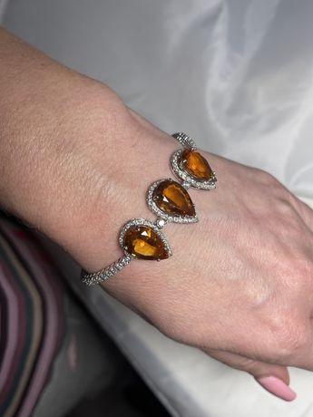 Золотой браслет с бриллиантами и цитринами