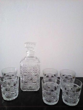 Garrafa uísque com 6 copos Luminarc (novo)