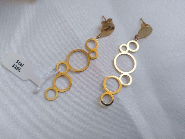 Nowe kolczyki stal chirurgiczna 316 L złote koła