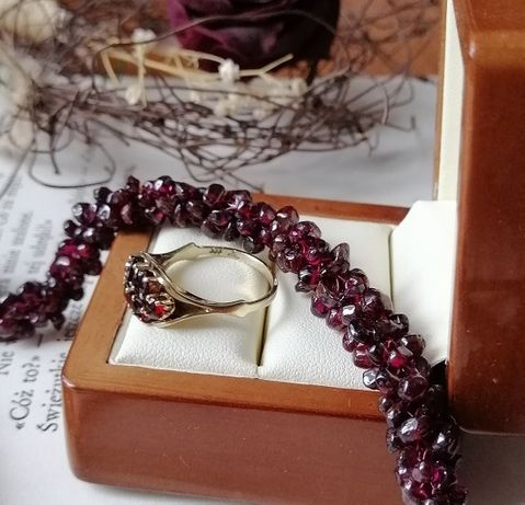 Granaty naturalne Złoty pierścionek naszyjnik z granatów kamień 16