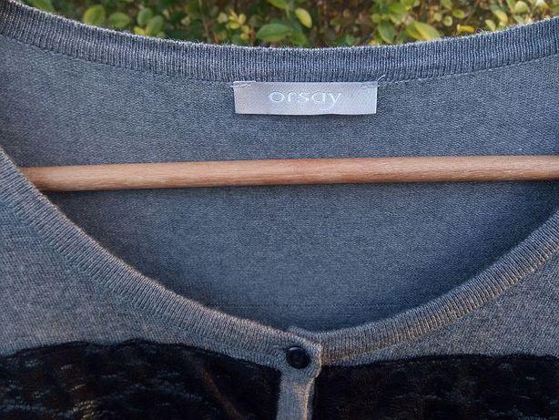 Sweter Cardigan Orsay 36 S szary czarny sweterek bluza guziki kardigan