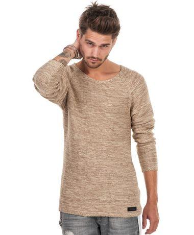 ADRIAN HAMMOND długi sweter Max - dzianina - melanż - rozmiar M
