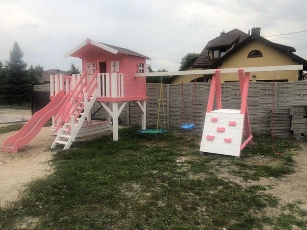 Plac zabaw DUŻY dom dla dziewczynki ścianka wspinaczkowa zjeżdżalnia