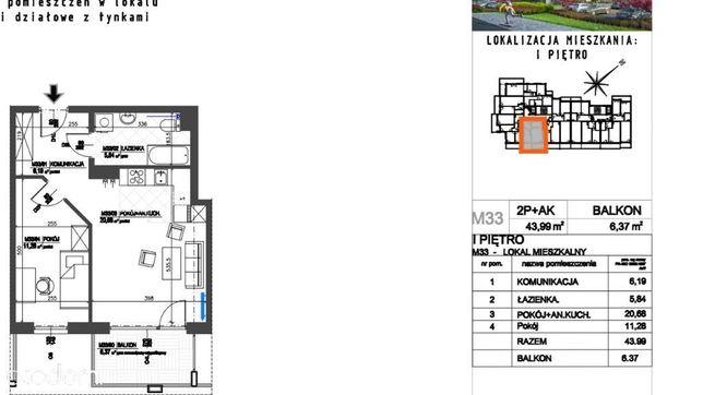 Sprzedam mieszkanie 2 pokojowe 44m2