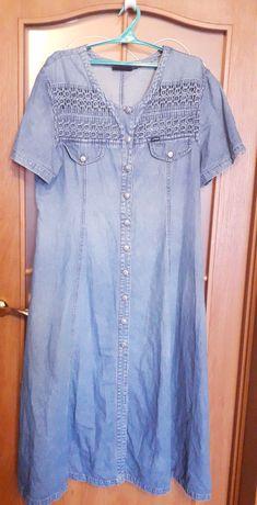 Длинное брендовое платье-халат джинсовое 56- 58 разм