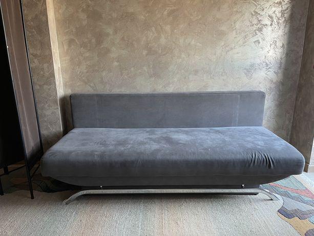 Sofa rozkładana dwuosobowa leżanka szara salon sypialnia