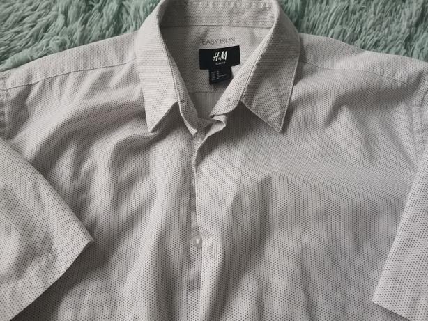 Koszula h&m kropeczki slim fit r.M biala