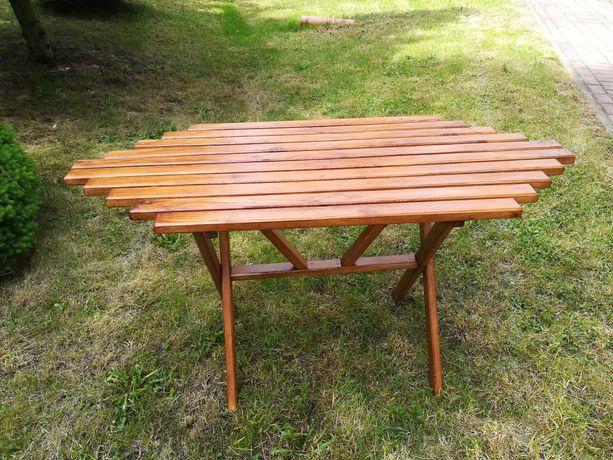 Stolik ogrodowy drewniany, rękodzieło
