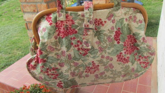 torebka na lato, w kwiaty, bambus, kobieca,lekka, materiałowa