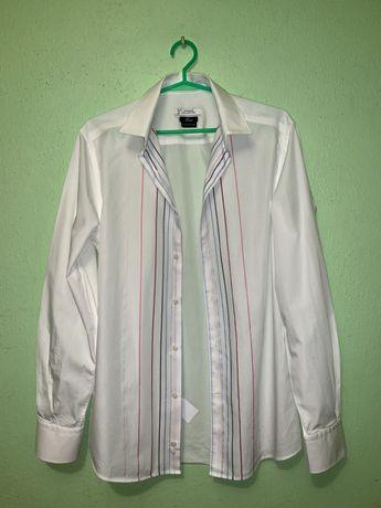 Biala koszula z paskami Versace