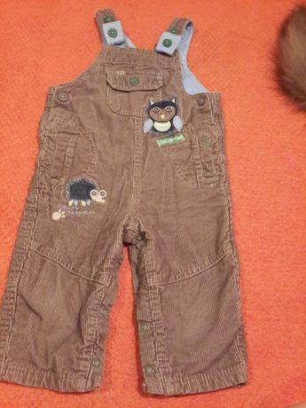 Штаны тёплые осень-зима на шлейках на 9-12 месяцев