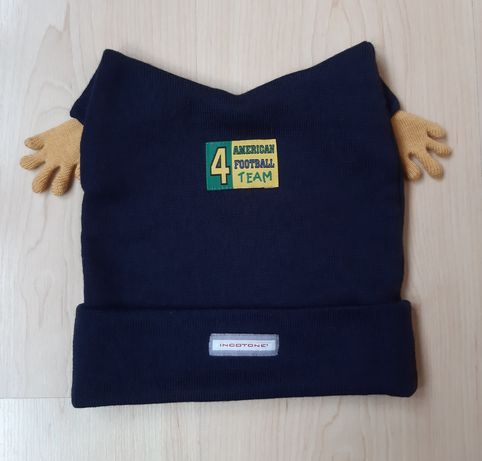 Оригинальная детская шапка осень-зима-весна 3-6лет рукавички в подарок