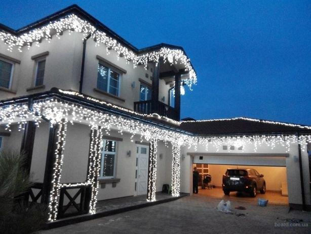 Новогодняя Гирлянда бахрома белый холодный