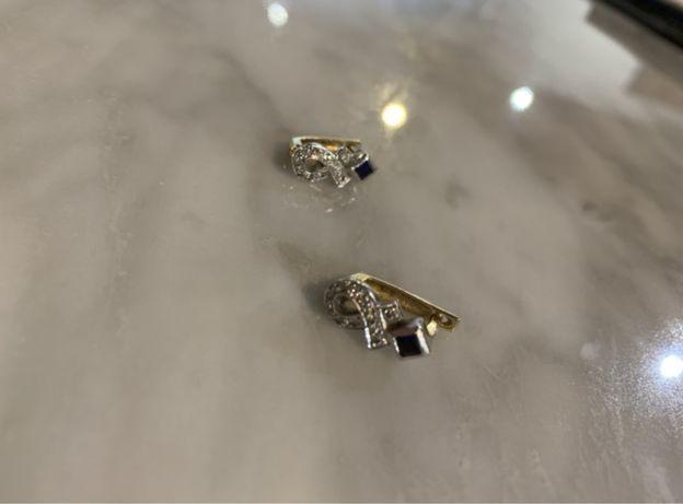 Серьги золотые с бриллиантами и сапфирами!