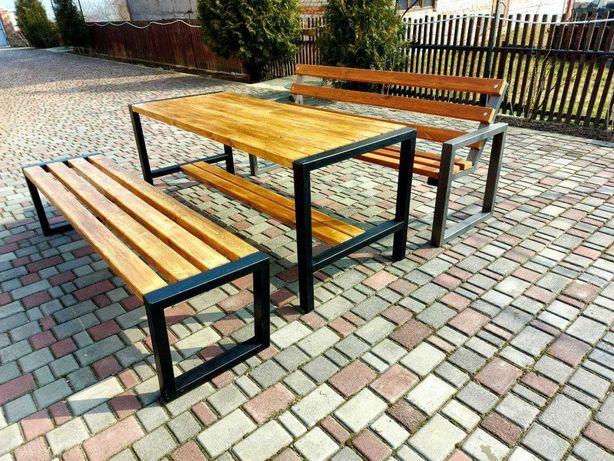 Комплект лавки садові, стіл, содовая мебель, скамейки, стол, сад, лофт