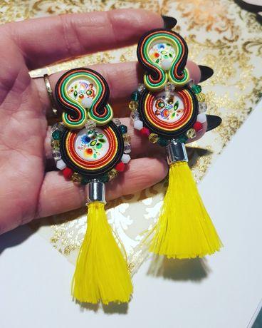 Kolczyki sutasz handmade chwosty folk etno