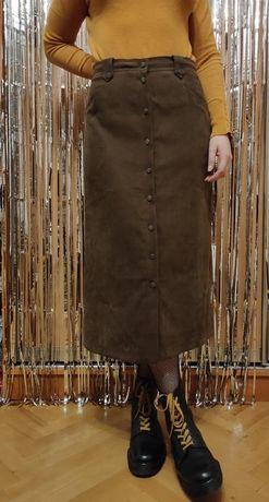 Длинная коричневая юбка на пуговицах спереди alfred dunner, l размер