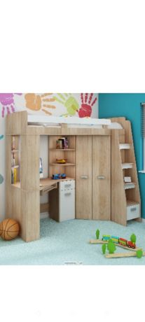 Łóżko piętrowe z szafą i biurkiem