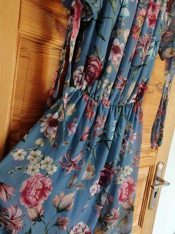 Sukienka niebieska w kwiaty krótka letnia hiszpanka