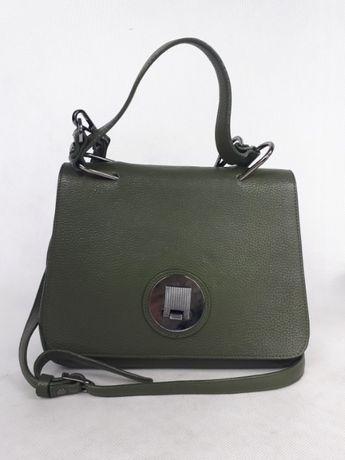 Elegancka listonoszka koktajlowa torebka BOCA zielona mała skórzana