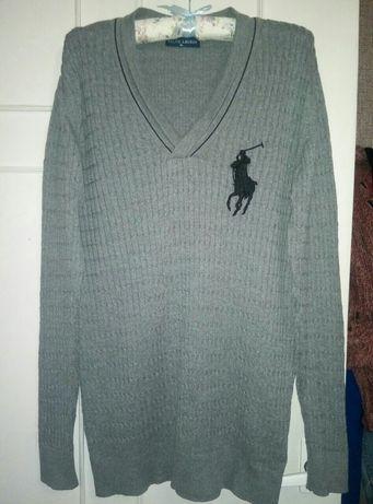 Серый свитер с вырезом ralph lauren,xl размер