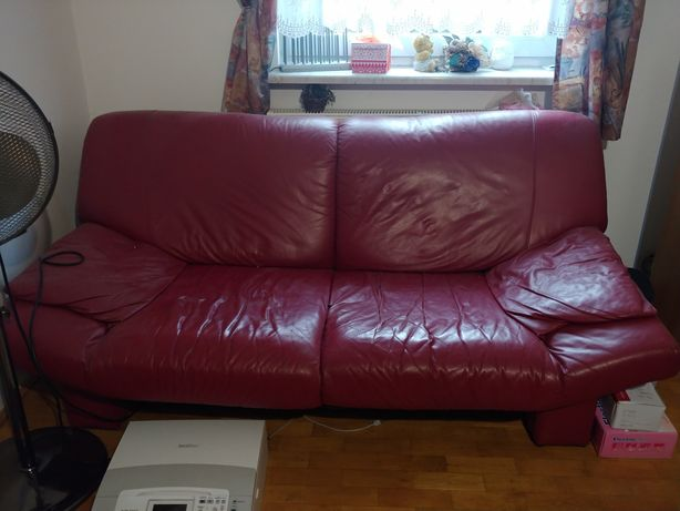 Sofa czerwona bordowa skóra skórzana