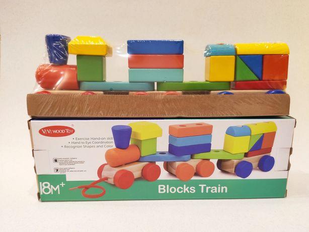 Деревянная каталка конструктор Поезд на верёвке Blocks Train