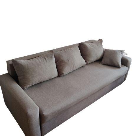 Komplet wypoczynkowy szary - sofa/kanapa, fotel, pufa