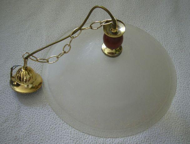 Żyrandol płaski szklany pojedynczy metalowy