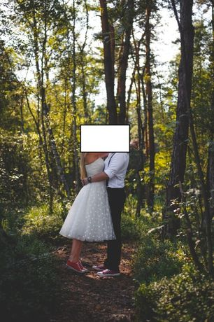 Suknia ślubna do połowy łydki rozmiar XS