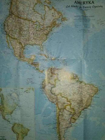 mapa Ameryka od Alaski po Ziemię Ognistą 51 cm * 79 cm