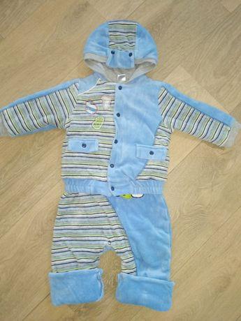 Утепленный велюровый костюм комбинезон + куртка ТМ ЛЯЛЯ